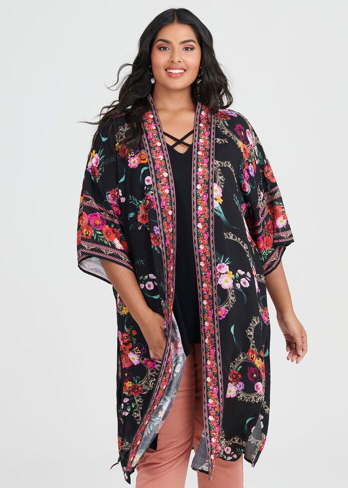 Wild Rose Viscose Kimono, , hi-res