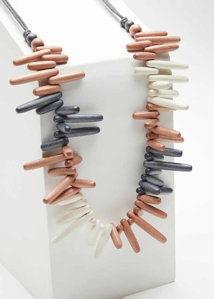 Neutral Wooded Bead Necklace, , hi-res