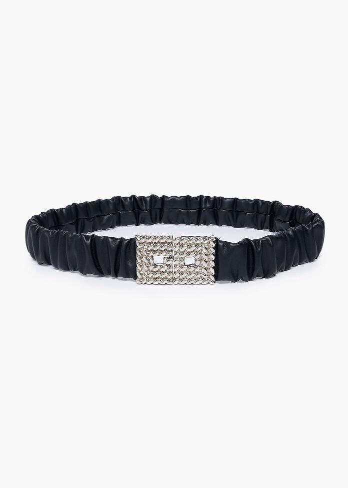 Black Ruched Belt, , hi-res