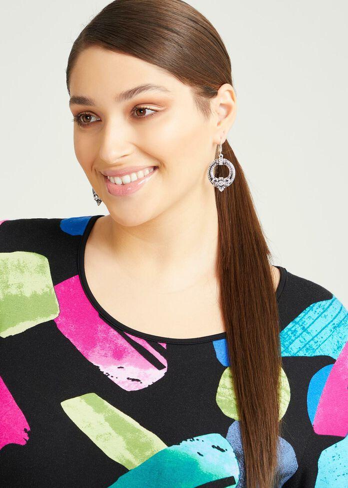 Silver Crystal Earrings, , hi-res