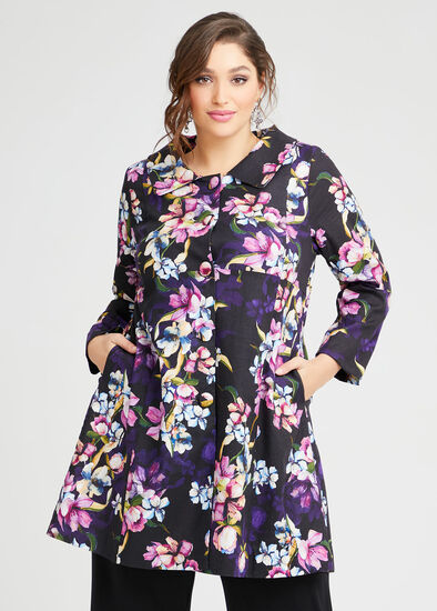 Majestic Flora Linen Coat