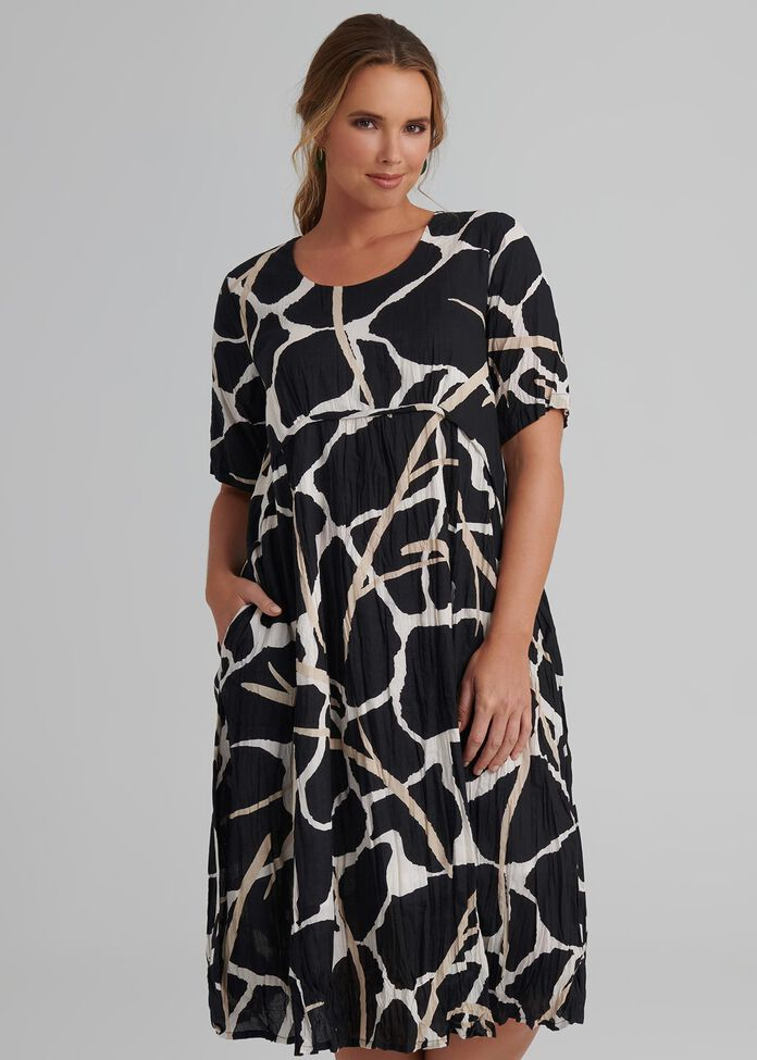 Abstract Print Dress, , hi-res