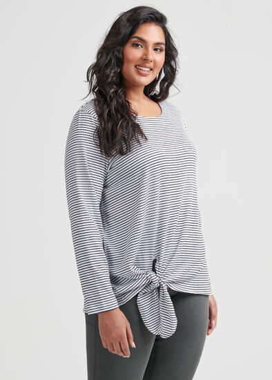 Stripe Textured Knot Top