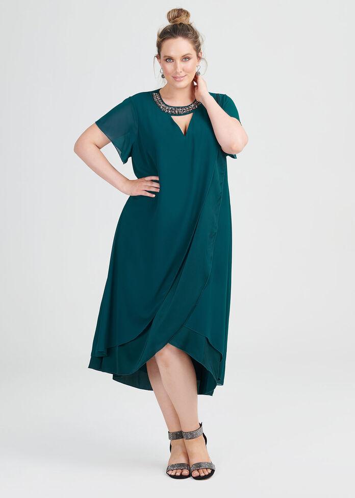 Dani Beaded Layered Dress, , hi-res