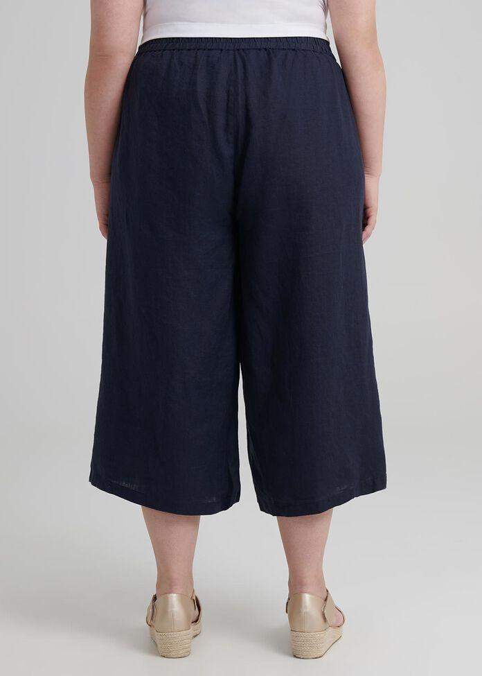 Petite Linen Crop Pant, , hi-res