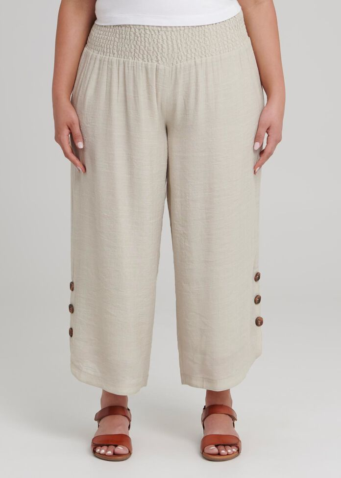 Petite Button Crop Pant, , hi-res