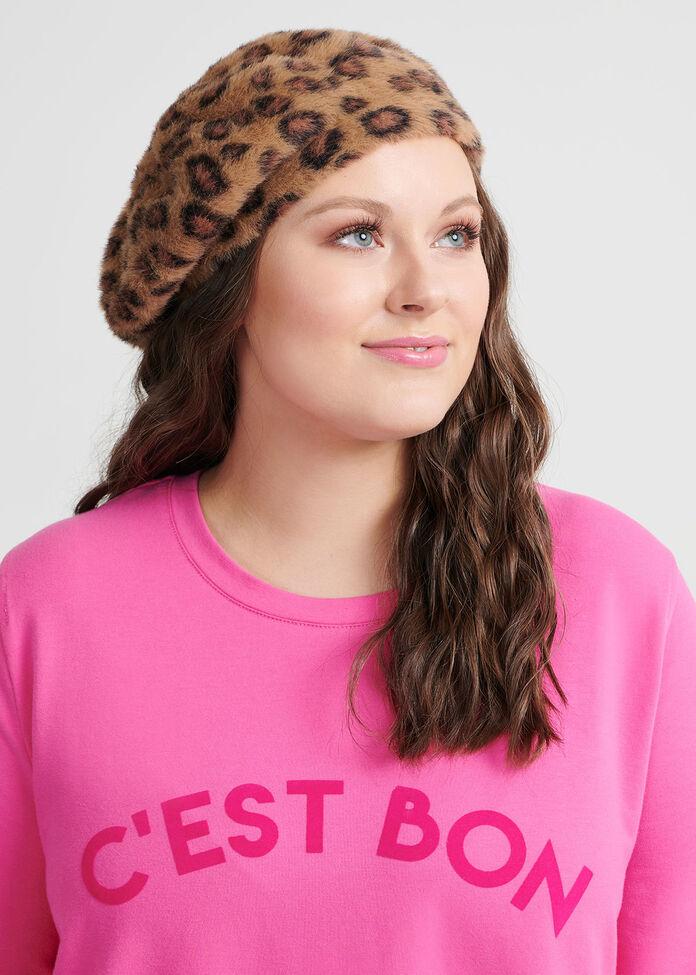 Leopard Fuzzy Knit Beret, , hi-res