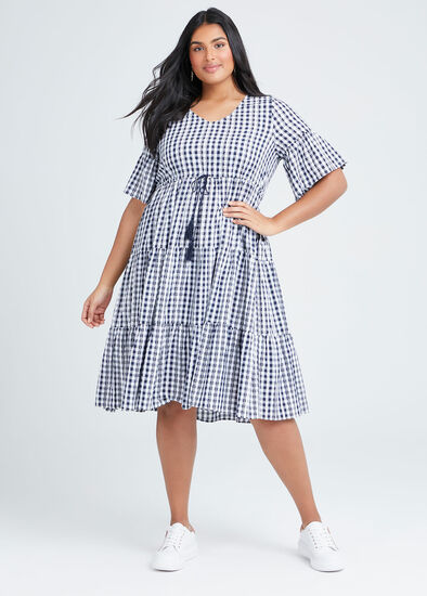 Cotton Gingham Tiered Dress
