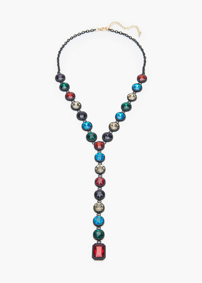 Faceted Jewel Y Necklace