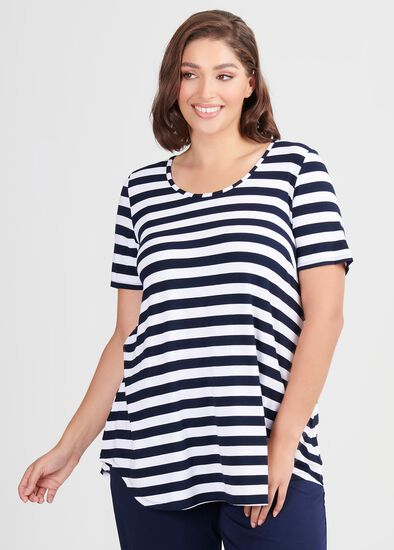 Bamboo Stripe Short Sleeve Top