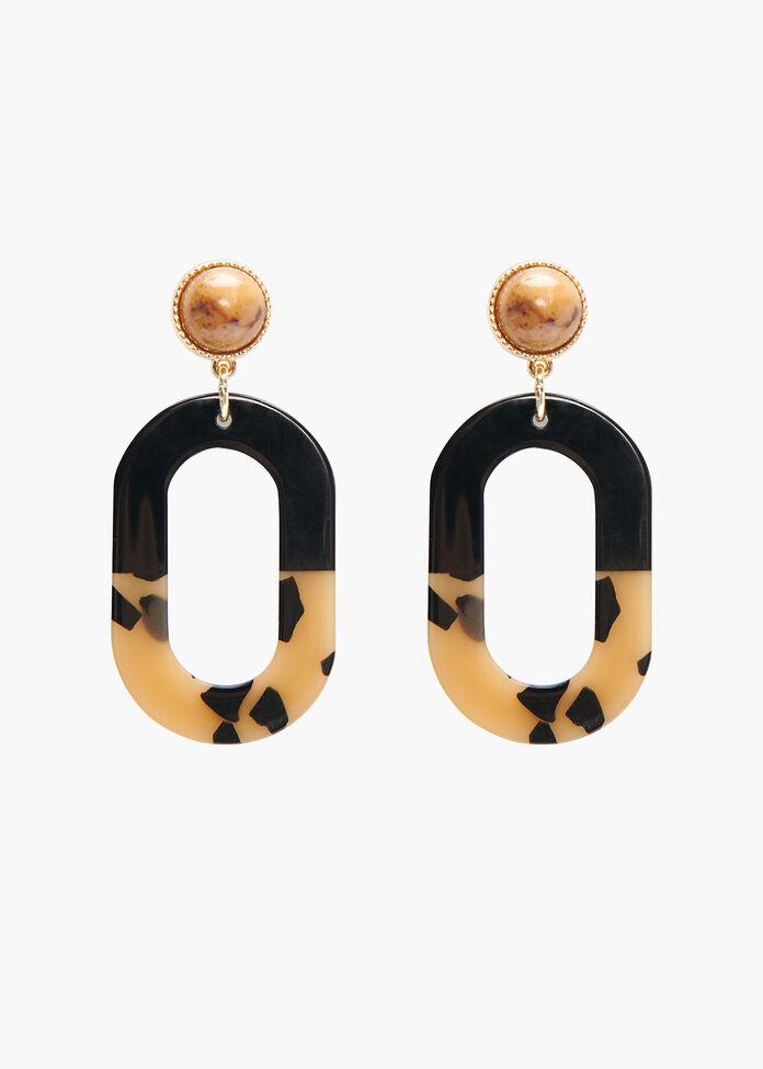Oval Drop Earrings, , hi-res