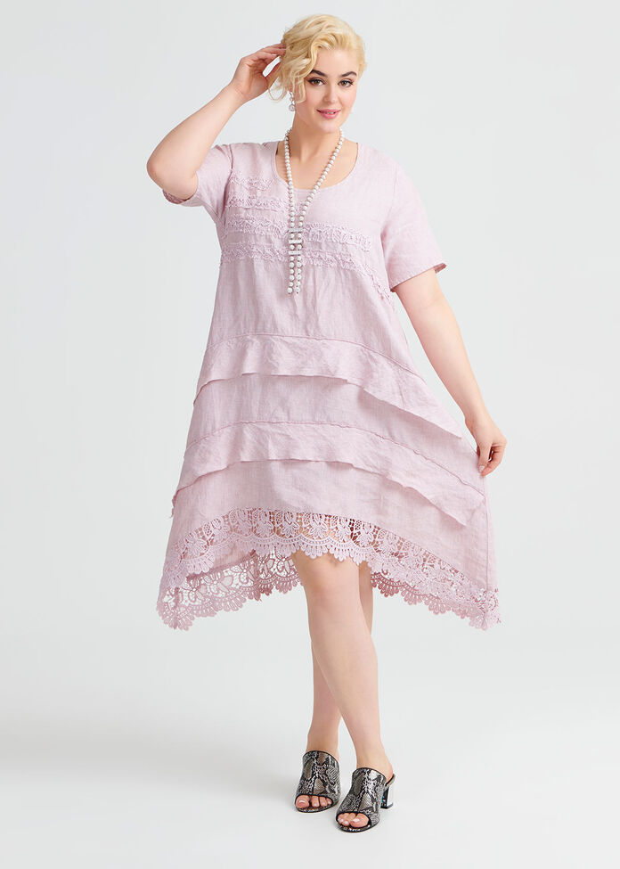 Linen Lace Dress, , hi-res