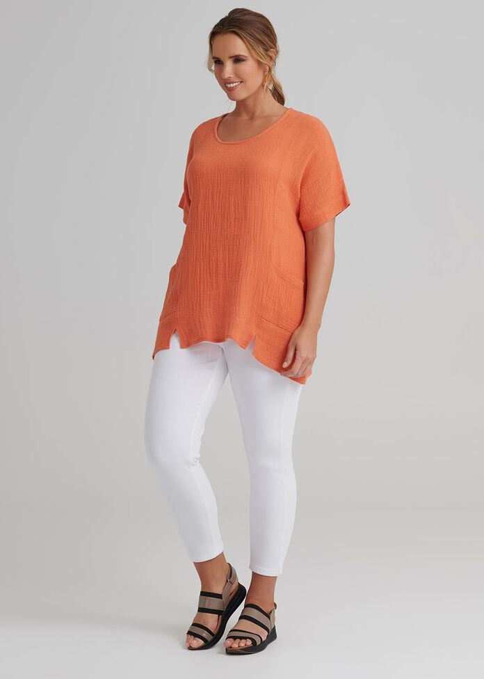 Linen Spliced Top, , hi-res