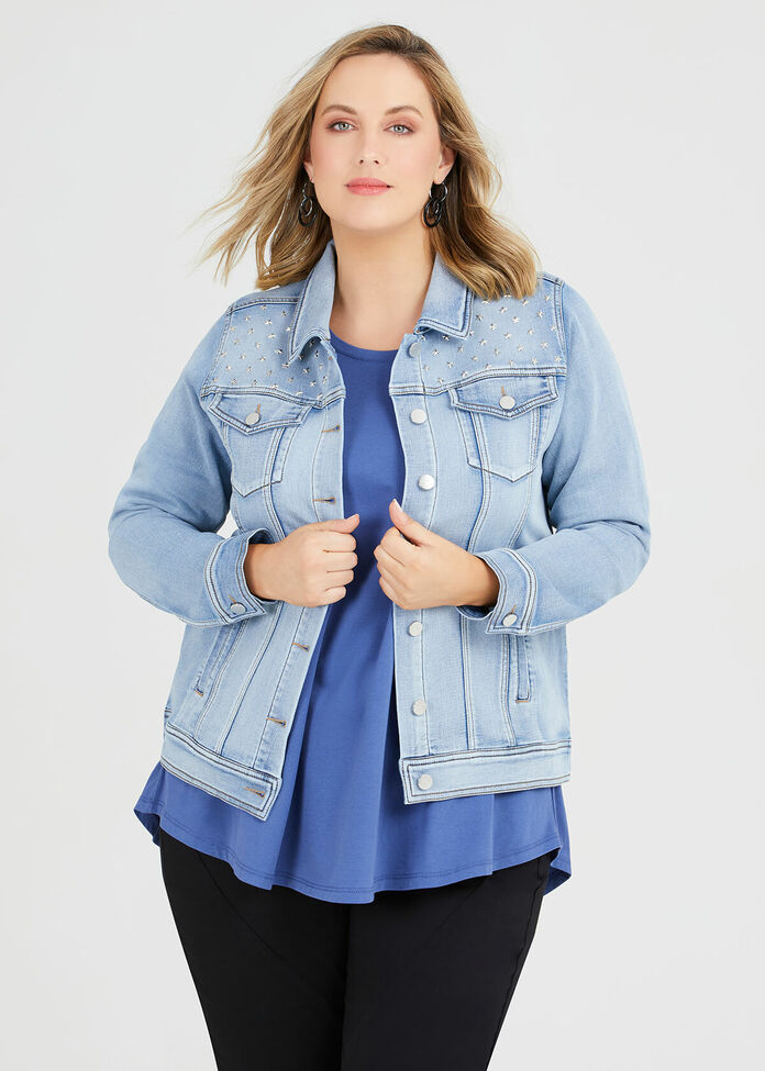 Studded Denim Jacket, , hi-res