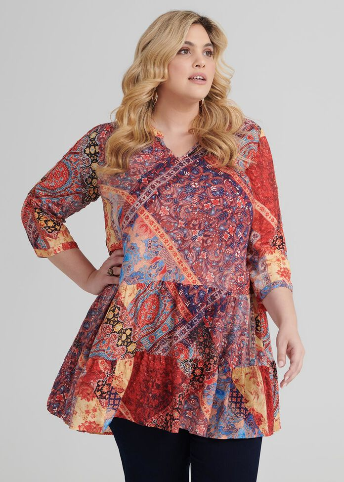 Patchwork Boho Tunic, , hi-res