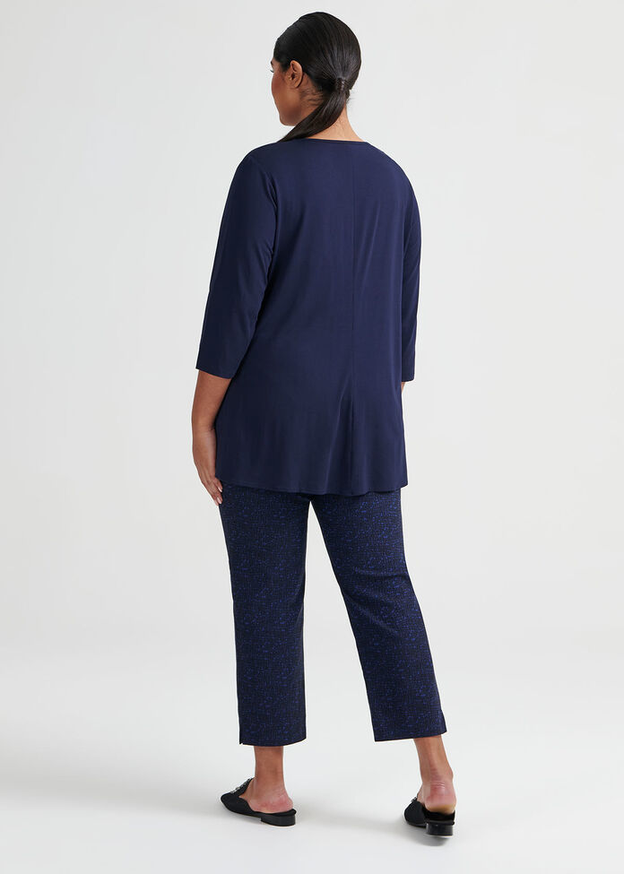 Bamboo 3/4 Sleeve Tie Top, , hi-res