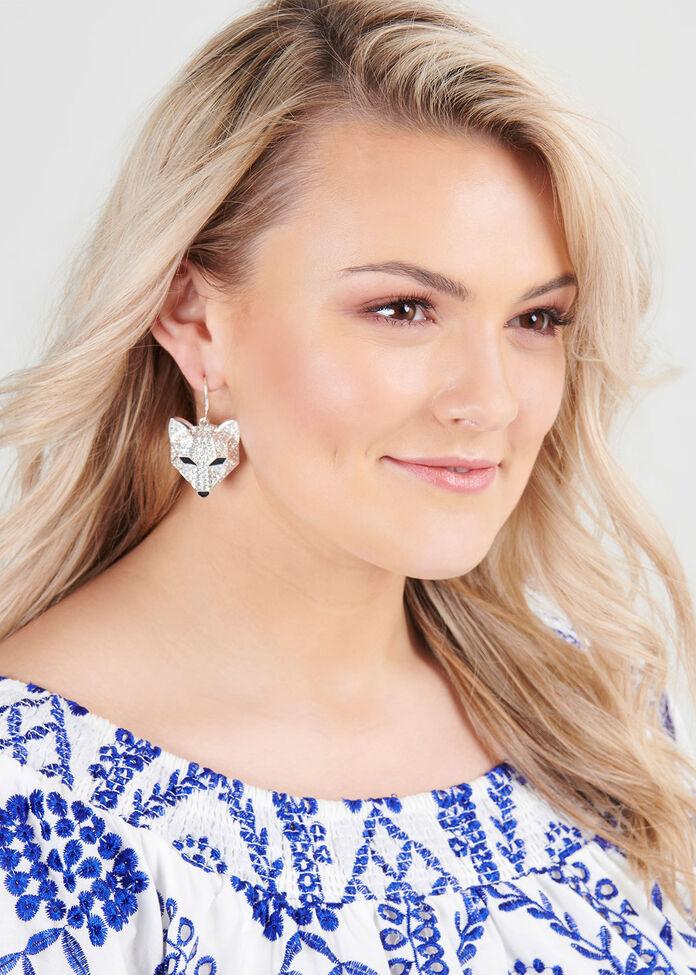 Crystal Fox Earrings, , hi-res