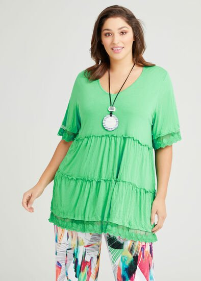 Connie Bamboo & Lace Tier Top