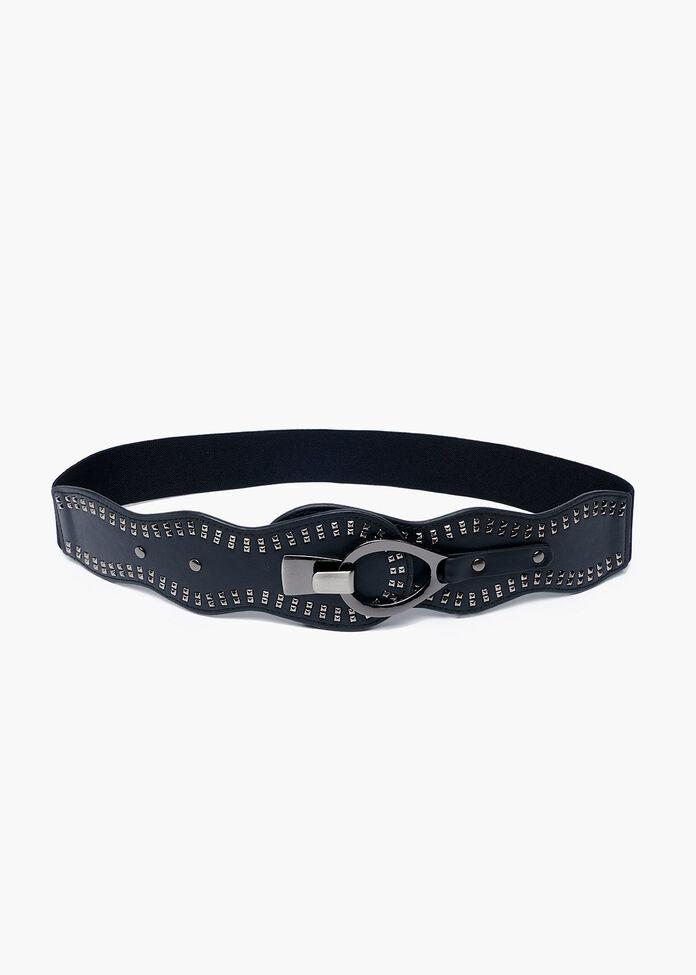 Black Stretch Stud Belt, , hi-res