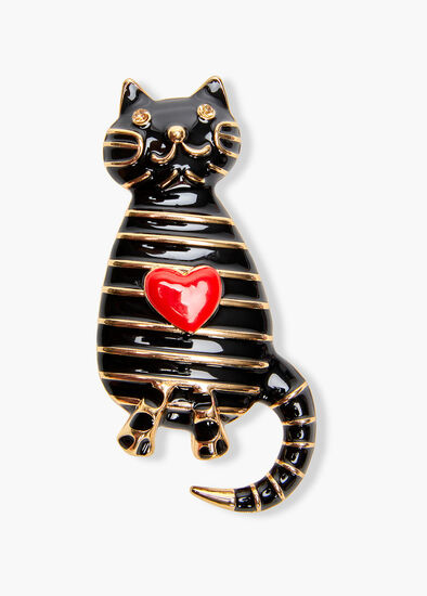 Striped Kitty Brooch