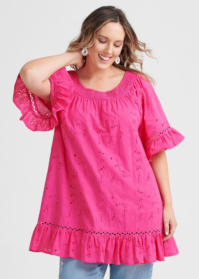 Cotton Broderie Tunic, , hi-res