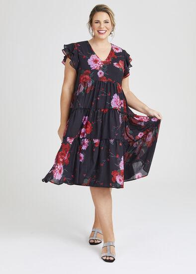 Rambling Rose Tier Midi Dress