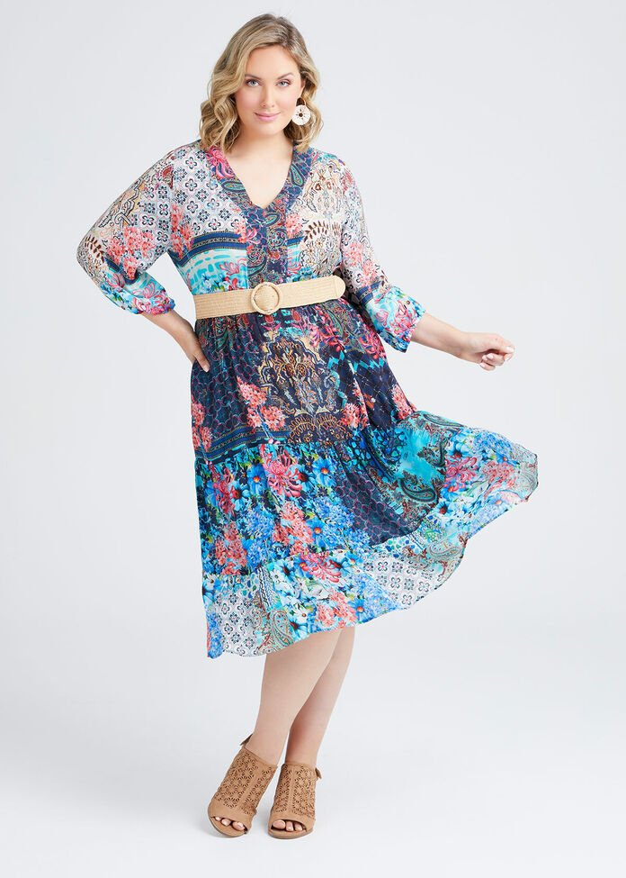 Natural Tuscan V-neck Dress, , hi-res
