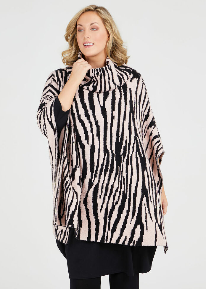 Zebra Poncho, , hi-res