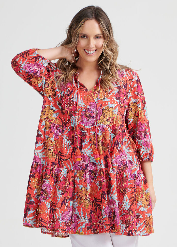 Natural Broderie Tunic, , hi-res