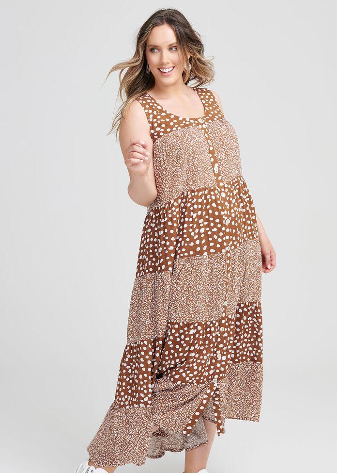 Natural Leopard Mix Dress, , hi-res