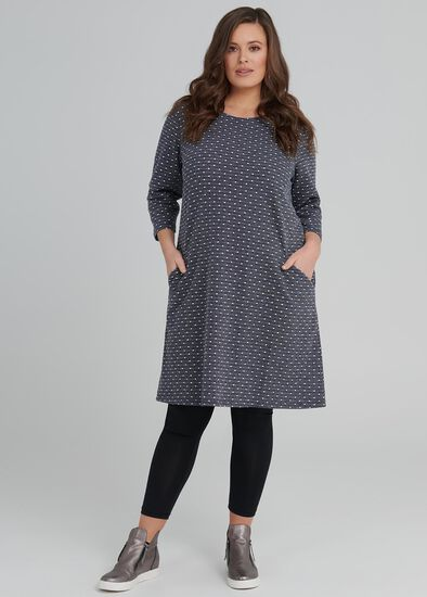 Textured Spot Shift Dress