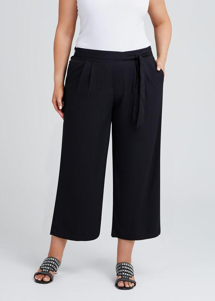 Noir Pull On Culotte Pant, , hi-res