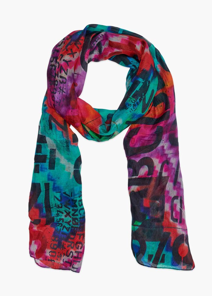 Painted Alpha Silk Scarf, , hi-res