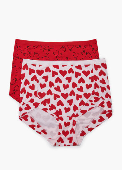 2Pk Bamboo Heart Briefs