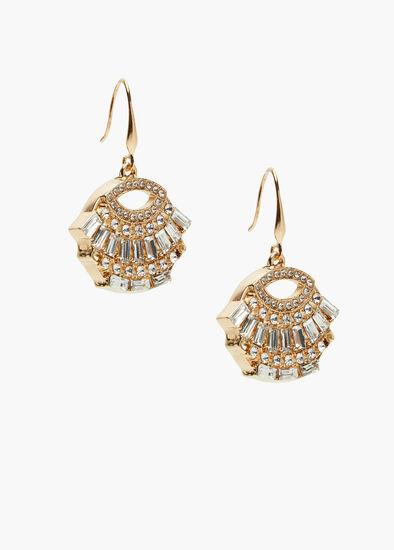 Gold Deco Crystal Earrings