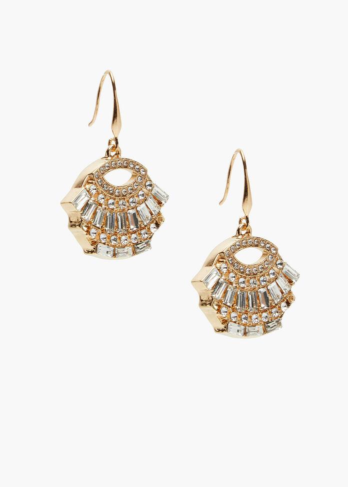 Gold Deco Crystal Earrings, , hi-res