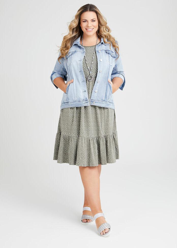 Organic Mini Spot Tiered Dress, , hi-res