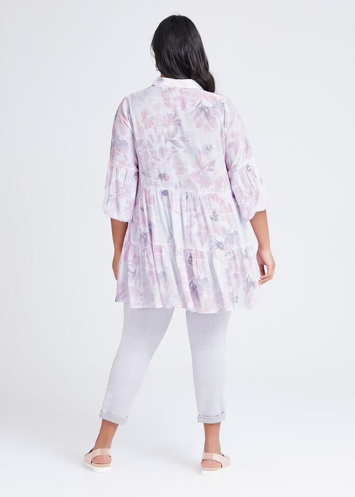 Natural Tiered Floral Shirt, , hi-res