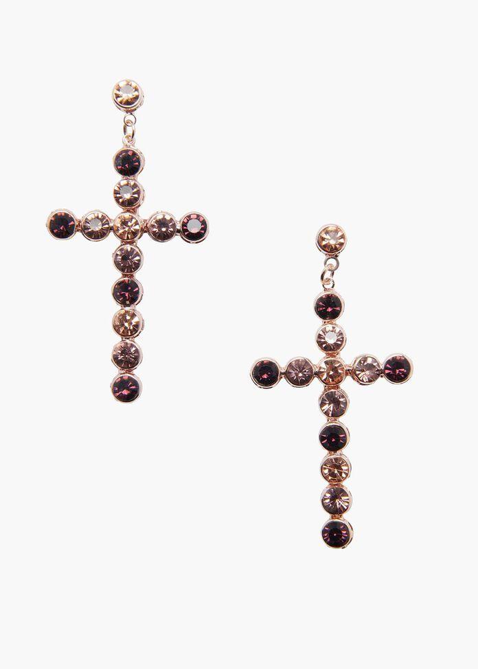 Crystal Cross Earrings, , hi-res