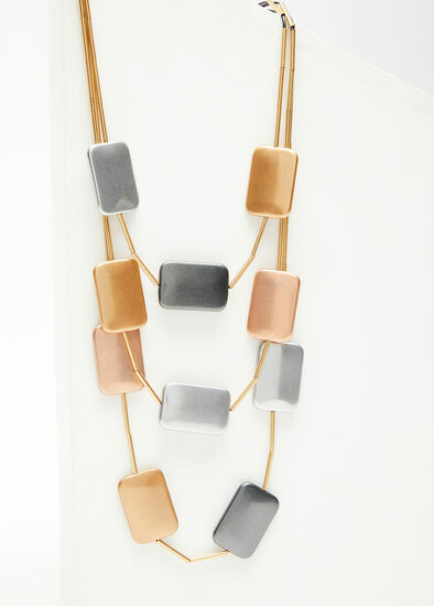 Brushed Metal Layered Necklace
