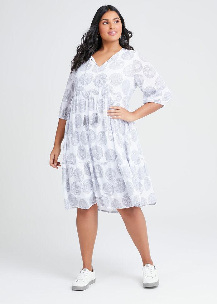 Natural Spot Tie Neck Dress, , hi-res
