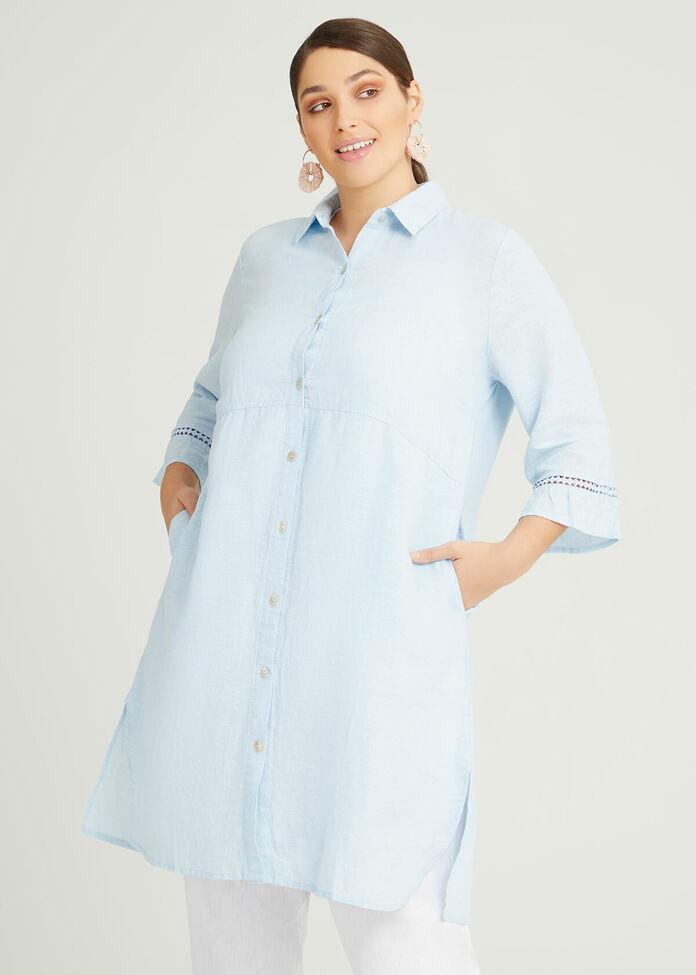 Linen Ava Longline Shirt, , hi-res